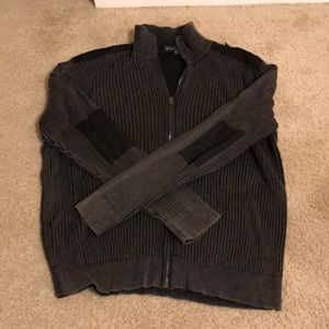 Inc xl gray ribbed elbow patch zip sweater